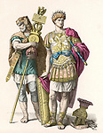 A GENERAL AND HIS STANDARD-BEARER the general wears a laurel  wreath as sign that he has won  a victory ; the standard- bearer wears a lion's head