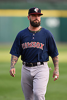 Pawtucket Red Sox designated hitter Ryan Roberts (17) during warmups before a game against the Buffalo Bisons on August 23, 2014 at Coca-Cola Field in Buffalo, New  York.  Buffalo defeated Pawtucket 15-2.  (Mike Janes/Four Seam Images)