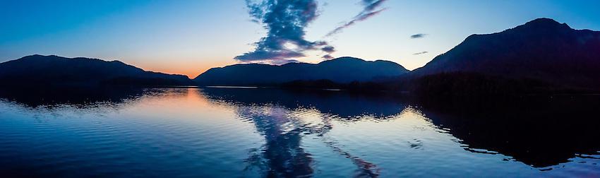 Panoramic view, twilight, Nakwasina Sound,  Inside Passage, Southeast Alaska USA.
