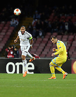 Thursday 27 February 2014<br /> Pictured: Ashley Williams of Swansea (L) heads the ball forward<br /> Re: UEFA Europa League, SSC Napoli v Swansea City FC at Stadio San Paolo, Naples, Italy.