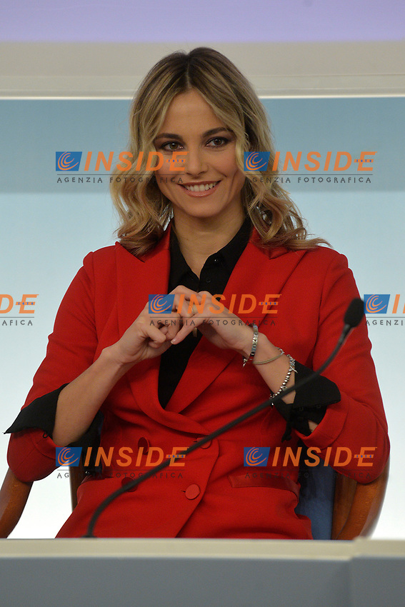 Tv Presenter Francesca Fialdini<br /> Rome November 21st 2019. Palazzo Chigi. Press conference for International Day for the Elimination of Violence against Women<br /> Foto  Samantha Zucchi Insidefoto