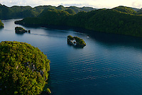 Aerial view of the Rock Islands in the late afternoon Natural Arch Area,Palau,Micronesia