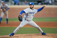 Kentucky Wildcats relief pitcher Colton Cleary (44) delivers a pitch to the plate against the North Carolina Tar Heels at Boshmer Stadium on February 17, 2017 in Chapel Hill, North Carolina.  The Tar Heels defeated the Wildcats 3-1.  (Brian Westerholt/Four Seam Images)