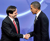 United States President Barack Obama welcomes Dan Meridor.Deputy Prime Minister and Minister of Intelligence and Atomic Energy of Israel to  the Nuclear Security Summit at the Washington Convention Center, Monday, April 12, 2010 in Washington, DC. .Credit: Ron Sachs / Pool via CNP