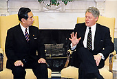 United States President Bill Clinton meets with Foreign Minister Yukihiko Ikeda of Japan in the Oval Office of the White House in Washington, DC on January 19, 1996.<br /> Mandatory Credit: Sharon Farmer / White House via CNP