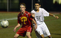 FRANCONIA, PA - NOVEMBER 11: Moravian Academy's Avery Chapman #4 and Plumstead Christian Academy's Anthony Quinones #22 battle for the ball in the first half of the District One Class A semifinal soccer playoff game at Souderton High School November 11, 2014 in Franconia, Pennsylvania.  (Photo by William Thomas Cain/Cain Images)