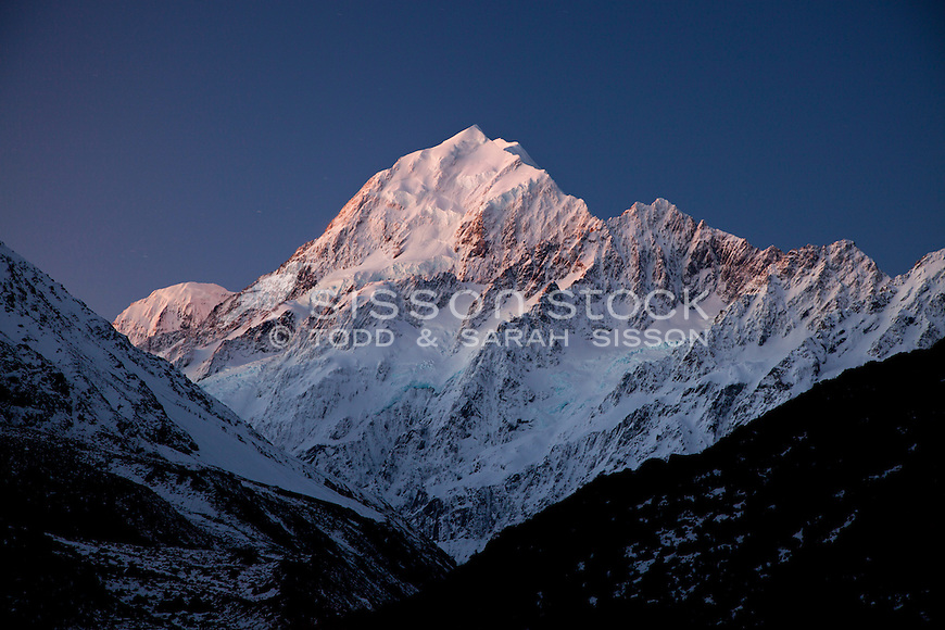 Sunset on the summit of Mt Cook / Aoraki, taken from near the Hermitage Hotel.