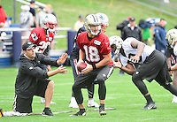 Wednesday, July 27, 2016: New Orleans Saints quarterback Garrett Grayson (18) takes a snap at a joint training camp practice between New England Patriots and  the New Orleans Saints  training camp held Gillette Stadium in Foxborough Massachusetts. Eric Canha/CSM