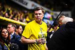 11.05.2019, Signal Iduna Park, Dortmund, GER, 1.FBL, Borussia Dortmund vs Fortuna Düsseldorf, DFL REGULATIONS PROHIBIT ANY USE OF PHOTOGRAPHS AS IMAGE SEQUENCES AND/OR QUASI-VIDEO<br /> <br /> im Bild | picture shows:<br /> Thomas Helmer (ehemals BVB) wird vor dem Spiel, gemeinsam mit den DFB Pokalsiegern von 1989 geehrt, <br /> <br /> Foto © nordphoto / Rauch