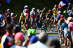 The breakaway group including race leader Yellow Jersey Greg Van Avermaet (BEL) BMC Racing Team and Robert Gesink ((NED) LottoNL-Jumbo during Stage 10 of the 2018 Tour de France running 158.5km from Annecy to Le Grand-Bornand, France. 17th July 2018. <br /> Picture: ASO/Alex Broadway | Cyclefile<br /> All photos usage must carry mandatory copyright credit (&copy; Cyclefile | ASO/Alex Broadway)