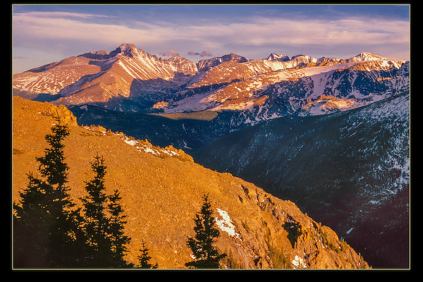 Longs Peak seen from Trail Ridge Road in Rocky Mountain National Park, Colorado.<br /> Rocky Mountain National Park auto tours and hikes.