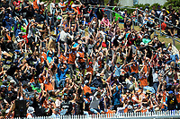 Fans perform a Mexican Wave during the One Day International cricket match between the NZ Black Caps and Pakistan at the Basin Reserve in Wellington, New Zealand on Saturday, 6 January 2018. Photo: Dave Lintott / lintottphoto.co.nz