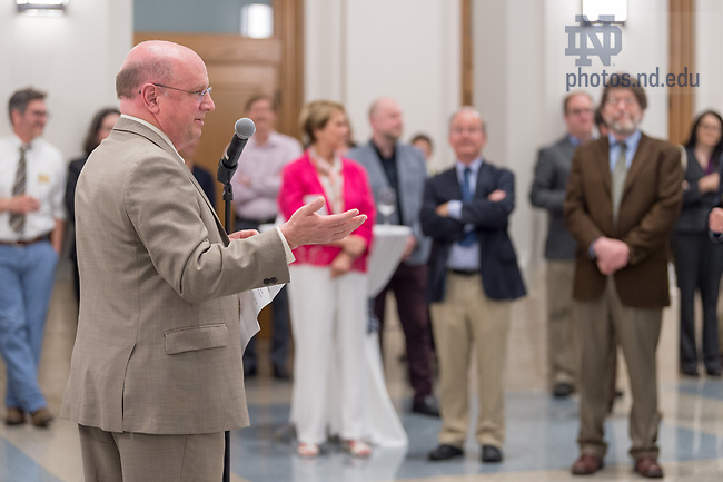 May 3, 2018 Scott Appleby, Marilyn Keough Dean; Professor of History speaks at the reception to honor Jim McAdams as he steps down after 16 years as director of Nanovic Institute for European Studies.  (Photo by Barbara Johnston/University of Notre Dame)