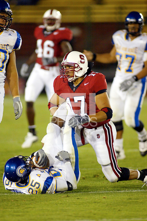 Jared Newberry during Stanford's 63-26 win over San Jose State on September 14, 2002 at Stanford Stadium.<br />