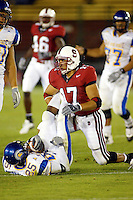 Jared Newberry during Stanford's 63-26 win over San Jose State on September 14, 2002 at Stanford Stadium.<br />Photo credit mandatory: Gonzalesphoto.com