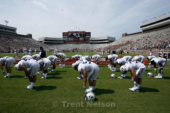 Trent Nelson  |  The Salt Lake Tribune.pre-game warmups, BYU vs. Florida State, college football Saturday, September 18, 2010 at Doak Campbell Stadium in Tallahassee, Florida.