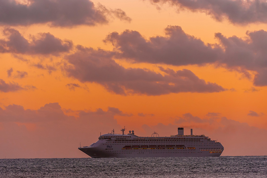 "P&O Cruises ship ""Pacific Jewel"" sailing off of Noumea, Grand Terre, New Caledonia"