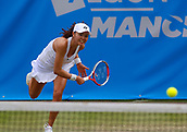 June 13th 2017, The Northern Lawn tennis Club, Manchester, England; ITF Womens tennis tournament; Number 8 seed Su Jeong Jang (KOR) serves during her first round singles match against Arina Rodionova (AUS); Rodionova won in three sets