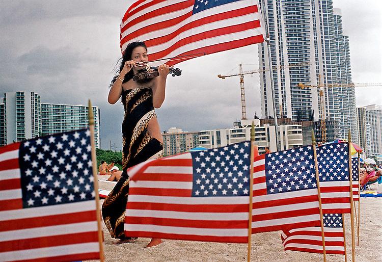 Violin player at Haulover Beach in North Miami