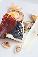 Europe/France/Bretagne/29/Finistère/Carantec:  Barbue panée en croûte de pain noir, Hollandaise légère au Yuzu. Recette de Patrick Jeffroy  -  Restaurant: Patrick Jeffroy - Hôtel de Carantec