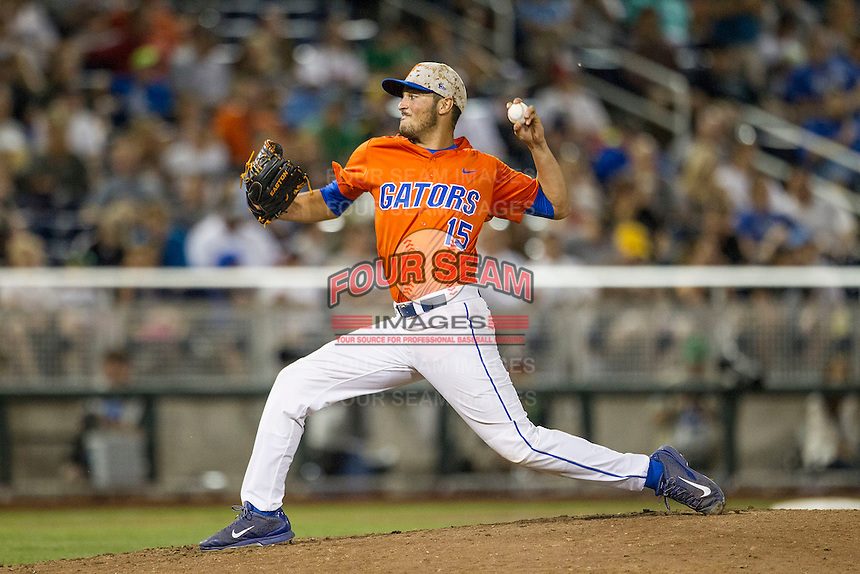 Florida Gators pitcher Danny Young (15) delivers a pitch to the plate against the Virginia Cavaliers in Game 13 of the NCAA College World Series on June 20, 2015 at TD Ameritrade Park in Omaha, Nebraska. The Cavaliers beat the Gators 5-4. (Andrew Woolley/Four Seam Images)