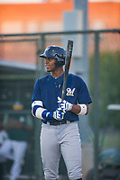 AZL Brewers first baseman Ernesto Wilson Martinez (56) at bat against the AZL Athletics on August 18, 2017 at Lew Wolff Training Complex in Mesa, Arizona. AZL Brewers defeated the AZL Athletics 6-4. (Zachary Lucy/Four Seam Images)