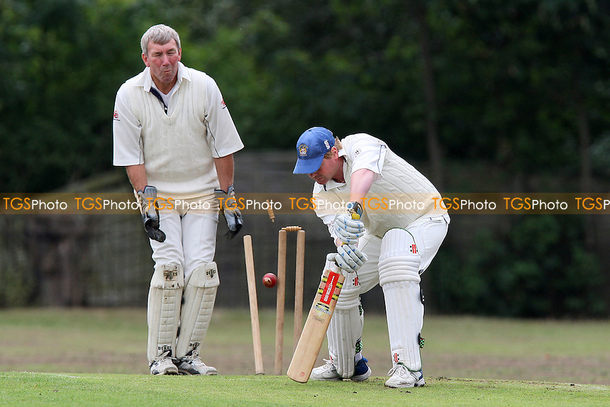 Gregory Coates of Hornchurch Athletic is bowled out by Hortop of Tennyson - Hornchurch Athletic CC 3rd XI vs Tennyson CC 2nd XI - Lords International Cricket League at Raphael Park, Romford, Essex - 14/08/10 - MANDATORY CREDIT: Gavin Ellis/TGSPHOTO - Self billing applies where appropriate - Tel: 0845 094 6026