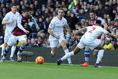14.02.2016. Villa Park, Birmingham, England. Barclays Premier League. Aston Villa versus Liverpool.<br /> Jordan Veretout  of Aston Villa slips a short pass past Nathaniel Clyne of Liverpool