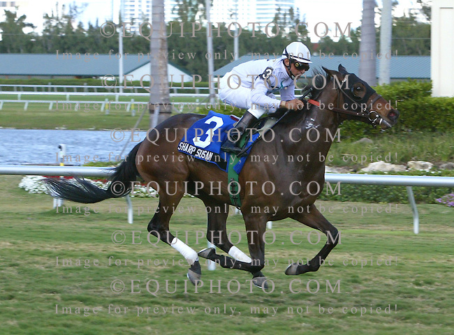Sharp Susan #3 with Cornelio Velasquez riding won the $150,000 Herecomesthebride Stakes at Gulfstream Park in Hallandale Beach, Florida on Sunday March 25, 2007. Photo By Jessica Denver/EQUI-PHOTO