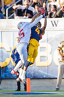BERKELEY, CA - NOVEMBER 22, 2014: Alex Carter breaks up a pass during Stanford's 117th Big Game against Cal. The Cardinal defeated the Bears 38-17.