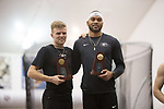 COLLEGE STATION, TX - MARCH 11: Teammates Devon Williams and Karl Saluri of Georgia are photographed following the men's heptathlon during the Division I Men's and Women's Indoor Track & Field Championship held at the Gilliam Indoor Track Stadium on the Texas A&M University campus on March 11, 2017 in College Station, Texas. (Photo by Michael Starghill/NCAA Photos/NCAA Photos via Getty Images)