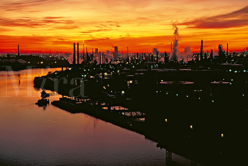 Industry along Houston ship channel at sunrise
