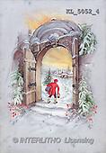 Interlitho, CHRISTMAS SANTA, SNOWMAN, nostalgic, paintings, portal, man, tree(KL5052/4,#X#) Weihnachten, nostalgisch, Navidad, nostálgico, illustrations, pinturas