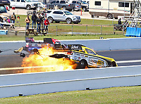Apr 22, 2018; Baytown, TX, USA; NHRA funny car driver Jonnie Lindberg explodes the engine of his car on fire during the Springnationals at Royal Purple Raceway. Mandatory Credit: Mark J. Rebilas-USA TODAY Sports