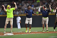 Members of the Columbia Fireflies grounds crew perform in a game against the Lexington Legends on Saturday, April 22, 2017, at Spirit Communications Park in Columbia, South Carolina. Lexington won, 4-0. (Tom Priddy/Four Seam Images)
