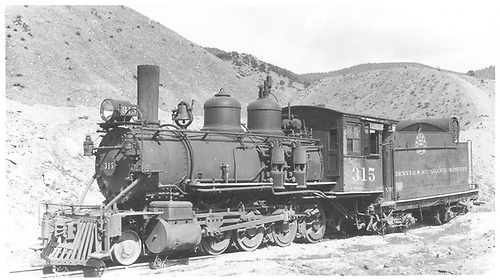 3/4 fireman's-side view of D&amp;RGW #315 parked in Salida.<br /> D&amp;RGW  Salida, CO  Taken by Perry, Otto C. - 4/24/1938