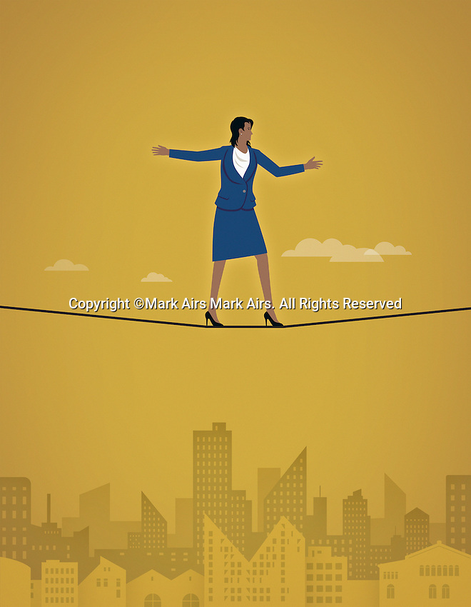 Businesswoman on a tightrope over a city