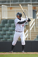 Justin Yurchak (33) of the Kannapolis Intimidators at bat against the Lakewood BlueClaws at Kannapolis Intimidators Stadium on April 8, 2018 in Kannapolis, North Carolina.  The Intimidators defeated the BlueClaws 5-1 in game one of a double-header.  (Brian Westerholt/Four Seam Images)