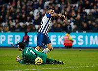 1st February 2020; London Stadium, London, England; English Premier League Football, West Ham United versus Brighton and Hove Albion; Pascal Gross of Brighton and Hove Albion slides the ball past Lukasz Fabianski of West Ham United to score for 3-2 in the 75th minute