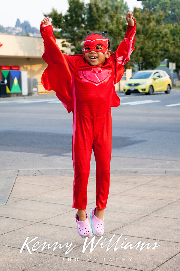Cute Jumping Girl in Red Winged Suit, Renton City Comicon 2017, Washington, USA