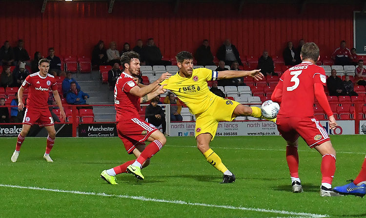 Fleetwood Town's Ched Evans battles for the ball<br /> <br /> Photographer Dave Howarth/CameraSport<br /> <br /> EFL Leasing.com Trophy - Northern Section - Group B - Tuesday 3rd September 2019 - Accrington Stanley v Fleetwood Town - Crown Ground - Accrington<br />  <br /> World Copyright © 2019 CameraSport. All rights reserved. 43 Linden Ave. Countesthorpe. Leicester. England. LE8 5PG - Tel: +44 (0) 116 277 4147 - admin@camerasport.com - www.camerasport.com