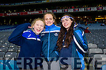 Cheering on St Mary's Caherciveen v Hollymount-Carramore, Mayo at the All Ireland Intermediate football final held in Croke Park on Sunday last were l-r: Sadhbh O'Shea, Ciara O'Shea and Kelsey McCarthy.