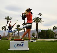 Pernilla Lindberg, of Sweden, plays her shot from the 16th tee during the third round of the ANA Inspiration at the Mission Hills Country Club in Palm Desert, California, USA. 3/31/18.<br /> <br /> Picture: Golffile | Bruce Sherwood<br /> <br /> <br /> All photo usage must carry mandatory copyright credit (&copy; Golffile | Bruce Sherwood)during the second round of the ANA Inspiration at the Mission Hills Country Club in Palm Desert, California, USA. 3/31/18.<br /> <br /> Picture: Golffile | Bruce Sherwood<br /> <br /> <br /> All photo usage must carry mandatory copyright credit (&copy; Golffile | Bruce Sherwood)