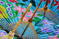 Decorative hand painted umbrellas in the village of Bo Sang near Chiang Mai, Thailand