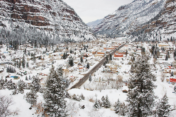 Ouray in winter, Ouray, Rocky Mountains, Colorado, USA