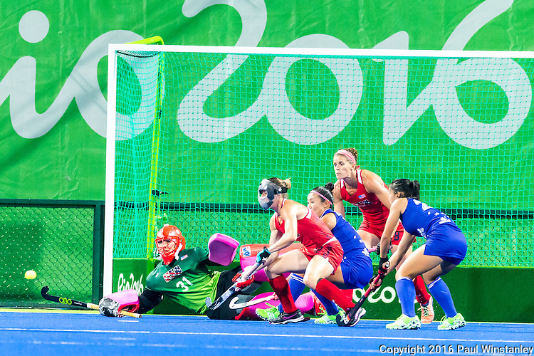 Jackie Briggs #31 of United States makes a save from a Japan penalty corner during USA vs Japan in a Pool B game at the Rio 2016 Olympics at the Olympic Hockey Centre in Rio de Janeiro, Brazil.