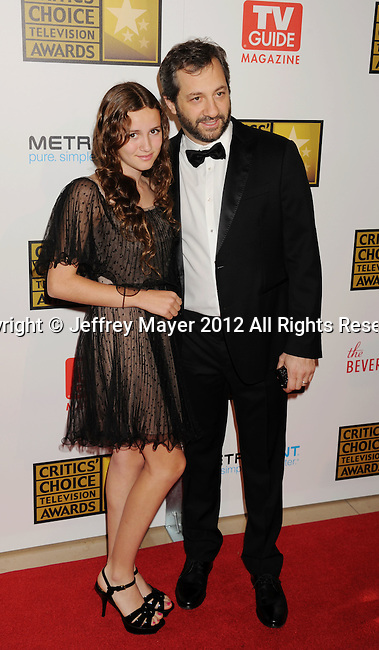 BEVERLY HILLS, CA - JUNE 18: Judd Apatow and Maude Apatow arrive at The Critics' Choice Television Awards at The Beverly Hilton Hotel on June 18, 2012 in Beverly Hills, California.