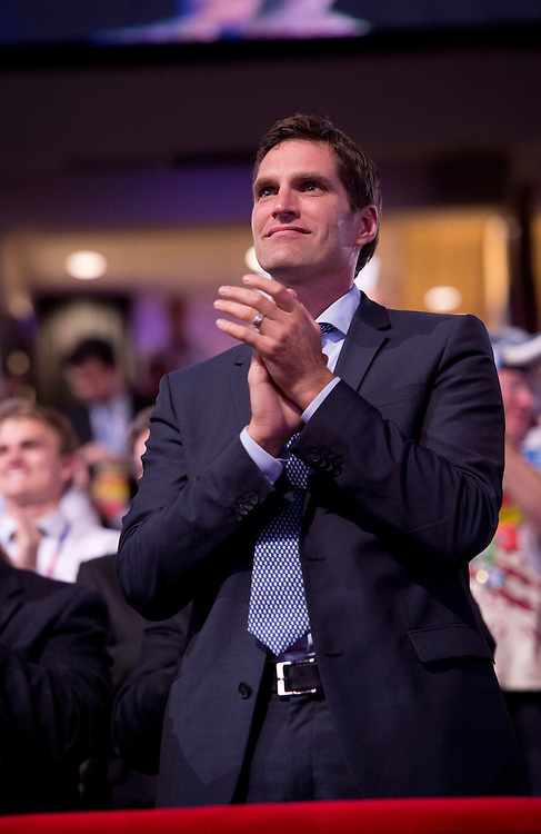 UNITED STATES - AUGUST 28:  Josh Romney applauds on the floor of the Republican National Convention in the Tampa Bay Times Forum, on the night his father Mitt Romney was chosen as the republican presidential nominee.  (Photo By Tom Williams/CQ Roll Call)