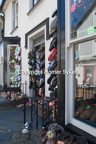Shoe shop display Harlech. Gwynedd North Wales UK.