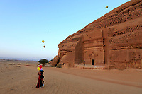 08 February 2019 - The AlUla Balloon Festival in AlUla, Saudi Arabia from 1-9 February 2019. 60 balloons took to the sky daily giving rides to the visitors as the Winter at Tantora Festival. The ride of 7km crosses AlUla's stunning landscape and heritage sites like Qasr al Farid and Madin Saleh, the second largest Nabatean city after Petra. Photo Credit: ALPR/AdMedia
